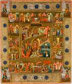 A LARGE ICON SHOWING THE RESURRECTION OF CHRIST AND THE