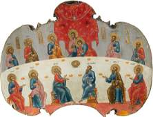 A LARGE ICON SHOWING THE LAST SUPPER FROM A CHURCH