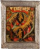 AN ICON SHOWING THE RESURRECTION OF CHRIST AND THE