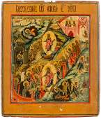 A FINELY PAINTED ICON SHOWING THE RESURRECTION OF