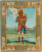 A SMALL ICON SHOWING A WARRIOR SAINT ST GEORGE
