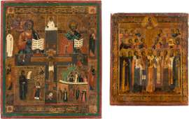 TWO ICONS A QUADRIPARTITE ICON AND AN ICON SHOWING A