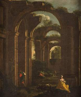 ITALIAN MASTER Active, about 1700. RUIN-CAPRICCIO WITH