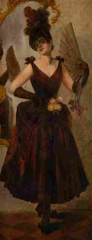 GERMAN about 1900 Lady with fan Oil on canvas. 81 x 33