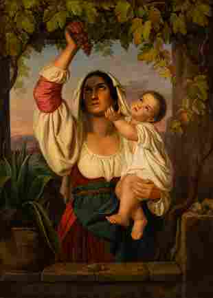 GERMAN-ROMAN Mid- 19th C. Mother with child under vine