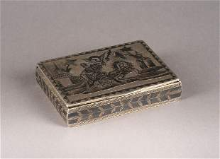 A SILVER AND NIELLO SNUFF BOX Russian, Moscow, 1821 Of