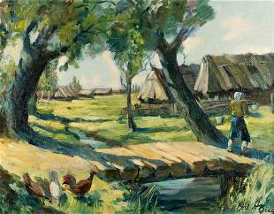 RUSSIAN SCHOOL Painter about 1940 Dorf im Sommer A