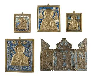 TRIPTYCH AND FOUR BRASS ICONS SHOWING SELECTED SAINTS