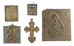 A CRUCIFIX AND FOUR BRASS ICONS SHOWING SELECTED SAINTS