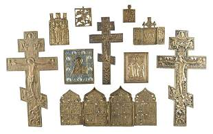 THREE CRUCIFIXES, QUADRIPTYCH, TRIPTYCH AND FIVE BRASS