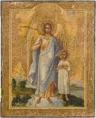 A RARE AND SMALL ICON SHOWING THE ARCHANGEL RAPHAEL AND