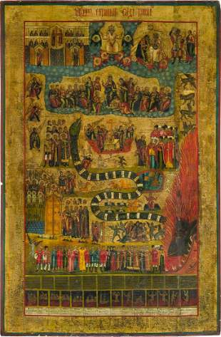 A MONUMENTAL ICON SHOWING THE LAST JUDGEMENT Russian,