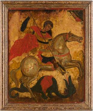 AN ICON SHOWING ST. GEORGE KILLING THE DRAGON Greek,