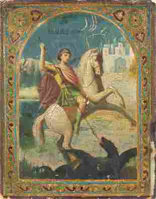 A SMALL ICON SHOWING ST. GEORGE KILLING THE DRAGON