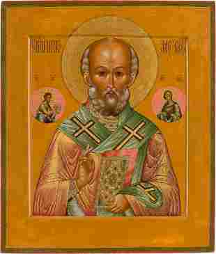 A FINE ICON SHOWING ST. NICHOLAS OF MYRA Russian,