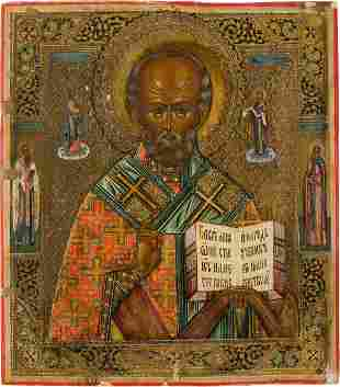 AN ICON SHOWING ST. NICHOLAS OF MYRA Russian, late 19th