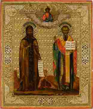 AN ICON SHOWING STS. CYRIL AND METHODIUS Russian,