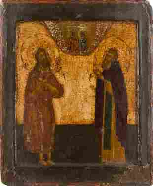 AN ICON SHOWING ST. ALEXIS, THE MAN OF GOD AND ST.