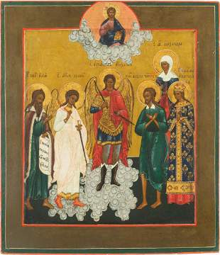 AN ICON SHOWING SIX FAMILY PATRON SAINTS Russian, 19th