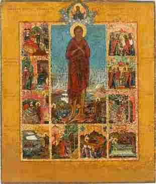 A RARE VITA ICON OF ST. ALEXIUS, MAN OF GOD Russian,