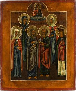 AN ICON SHOWING SIX SELECTED FAMILY PATRON SAINTS