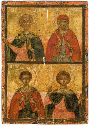 AN ICON SHOWING FOUR SELECTED SAINTS Greek, 18th