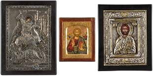 THREE ICONS SHOWING CHRIST PANTORATOR AND ST. GEORGE