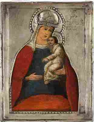 A SMALL ICON SHOWING THE MOTHER OF GOD WITH A RIZA