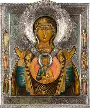 AN ICON SHOWING THE MOTHER OF GOD OF THE SIGN WITH A