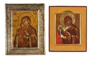 TWO SMALL ICONS SHOWING IMAGES OF THE MOTHER OF GOD