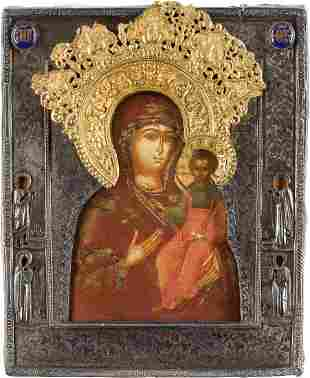AN ICON SHOWING THE SMOLENSKAYA MOTHER OF GOD WITH A
