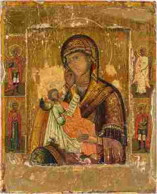A SMALL ICON SHOWING THE MOTHER OF GOD 'SOOTHE MY