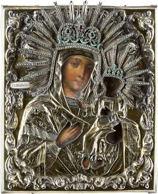 AN ICON SHOWING THE OZERYANSKAYA MOTHER OF GOD WITH A