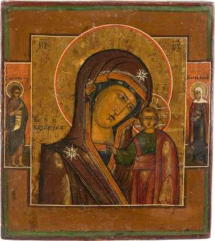 A SMALL ICON SHOWING THE KAZANSKAYA MOTHER OF GOD