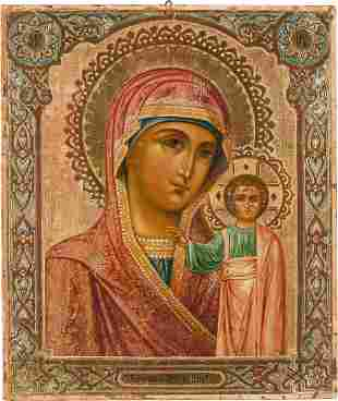 AN ICON SHOWING THE MOTHER OF GOD OF KAZAN Russian,