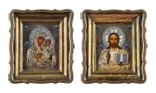 A PAIR OF WEDDING ICONS WITH SILVER AND CLOISONNÉ