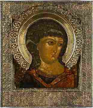 AN ICON SHOWING THE ARCHANGEL MICHAEL WITH A SILVER