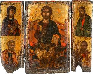 A TRIPTYCH SHOWING THE DEISIS AND STS. PETER AND PAUL