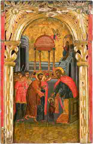 A LARGE ICON SHOWING THE ENTRY OF THE MOTHER OF GOD