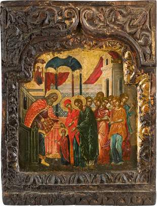 AN ICON SHOWING THE ENTRANCE OF THE MOTHER OF GOD INTO
