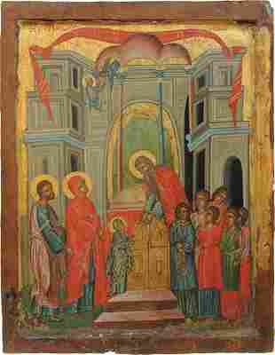 A LARGE ICON ICON SHOWING THE ENTRY OF THE MOTHER OF
