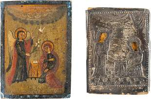 TWO SMALL ICONS SHOWING THE ANNUNCIATION OF THE MOTHER