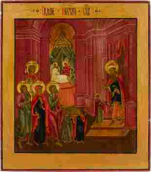 AN ICON SHOWING THE ENTRY OF THE MOTHER OF GOD INTO THE