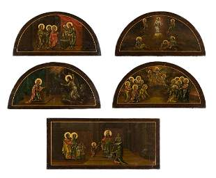 A SET OF FIVE ICONS FROM A CHURCH ICONOSTASIS Russian,