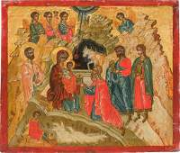 AN ICON SHOWING THE ADORATION OF THE MAGI Greek, circa