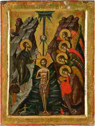 A MONUMENTAL AND FINE ICON SHOWING THE BAPTISM OF