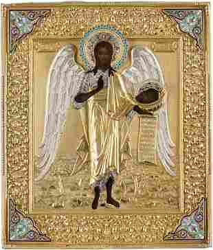 A FINE ICON SHOWING ST. JOHN THE FORERUNNER AS ANGEL OF