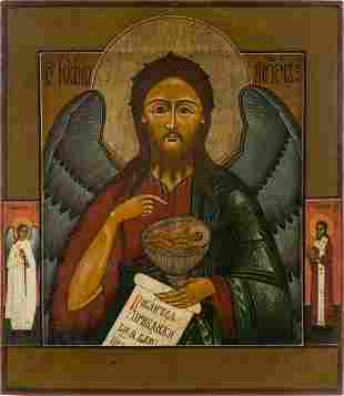 AN ICON SHOWING ST. JOHN THE FORERUNNER Russian, late