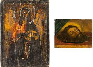 TWO SMALL ICONS SHOWING ST. JOHN THE FORERUNNER AND HIS