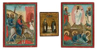 A MINIATURE ICON SHOWING ST. SERGEY AND GERMAN AND TWO